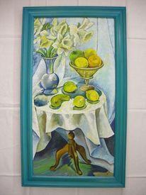 Narzissen, Tisch, Blumen, Hellblau
