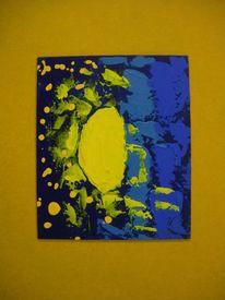 Platte, Dunkelblau, Mond, Acrylmalerei
