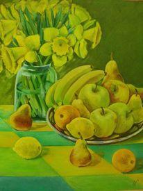 Grün, Ölmalerei, Narzissen, Früchte