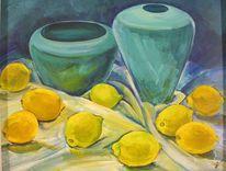 Zitrone, Vase, Gelb, Blautöne