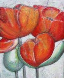 Blüte, Blumen, Rot, Malerei