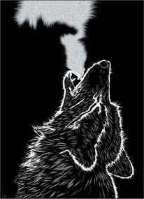 Wolf, Schwarz, Einsamkeit, Digitale kunst