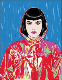 Regen, Frau, Farben, Illustrationen