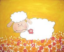 Blumen, Kinder, Schäfchen, Schaf