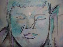 Buddha, Glaube, Skizze, Buntstiftzeichnung