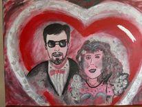 Acrylmalerei, Hochzeit, Rot, Silber