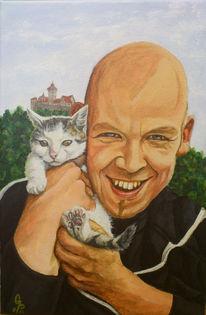 Katze, Menschen, Burg, Lachen