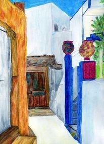 Griechenland, Kleine gasse, Malerei, Architektur