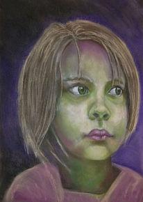 Kind, Grün, Mädchen, Zeichnungen