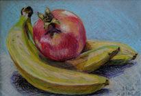 Obst, Banane, Granatapfel, Zeichnungen