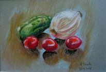Zwiebeln, Tomate, Gurke, Zeichnungen