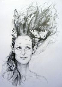 Komposition, Bleistiftzeichnung, Portrait, Zeichnung