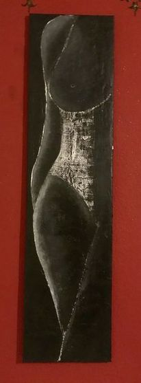 Modern, Körper, Weiß figur, Frau schwarz
