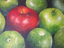 Acrylmalerei, Grün, Apfel, Obst
