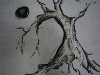 Baum, Mond, Zeichnungen