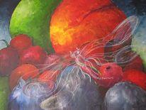 Obst, Apfel, Libelle, Malerei