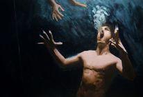 Unterwasser, Mann, Schrei, Malerei