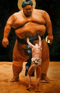 Junge, Sumo, Kampf, Malerei