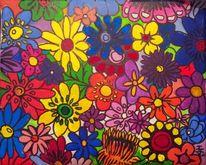 Acrylmalerei, Blumen, Experimentiell, Malerei