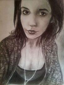 Portrait, Schwarz weiß, Bleistiftzeichnung, Kohlezeichnung