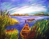 Landschaft, Acrylmalerei, Boot, See