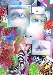 Alice im wunderland, Polychromos, Zeichnungen, Surreal