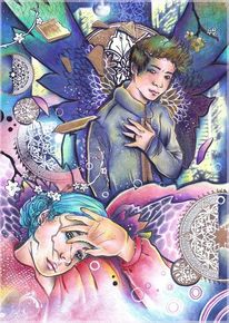 Engel polychromos tusche, Zeichnungen, Bad