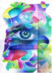 Augen, Farben, Bunt, Polychromos