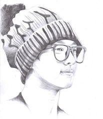 Junge, Zeichnung, Beast, Brille