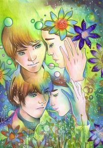 Farben, Polychromos, Junge, Mädchen
