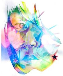 Polychromos photoshop gesicht, Zeichnungen, Surreal, Schatten