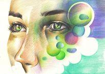 Polychromos augen frau, Zeichnungen, Portrait
