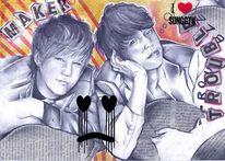 Collage bleistift zeichnung, Zeichnungen