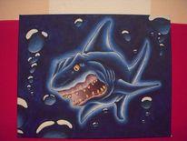 Luftblassen, Unterwasser, Comic, Blau