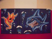 Seepferdchen, Luftblasen, Comic, Unterwasser