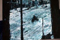 Schnee, Acrylmalerei, Spachteltechnik, Blau