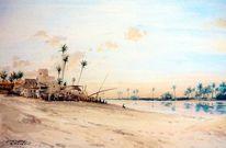 Realismus, Nil, Aquarellmalerei, Abendstimmung