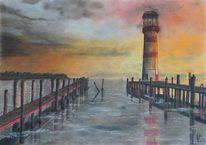 Pastellmalerei, Malerei, Leuchtturm