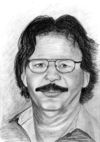 Menschen, Portrait, Selbstportrait, Bleistiftzeichnung