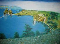 Acrylmalerei, Sommer, Baikalsee, Wasser