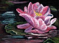 Sommer, Acrylmalerei, Seerosen, Wasser