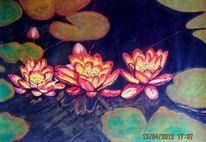 Blumen, Seerosen, See, Acrylmalerei