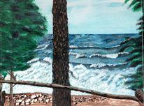 Baikal, Stürmischer baikal, Acrylmalerei, Wasser