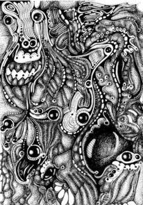 Fantasie, Schwarz weiß, Kugelschreiber, Grafik