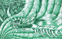 Grün, Kugelschreiber, Surreal, Fisch