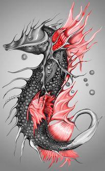 Scharz, Kugelschreiber, Rot, Seepferdchen