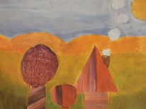 Acrylmalerei, Haus und bäume, Wiesen mit gebirge, Collage