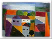 Haus, Avantart, Malerei, Ölmalerei