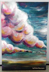 Acrylmalerei, Wolken, Vivie, Landschaft