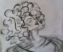 Bleistiftzeichnung, Lippen, Kohlezeichnung, Wuschelkopf